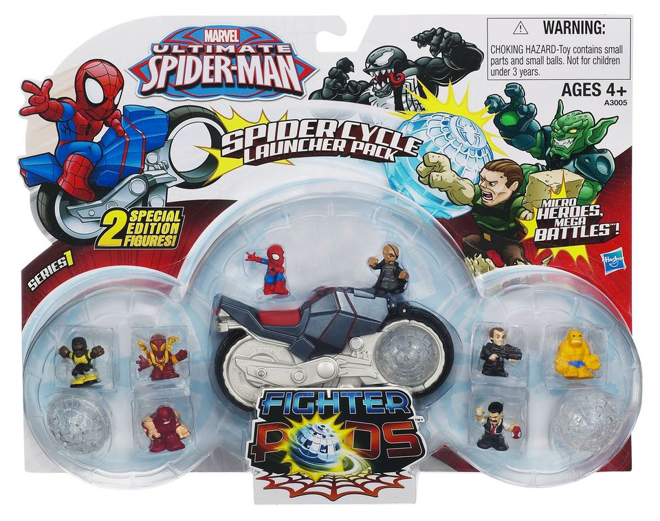 Marvel Ultimate Spider Man Fighter Pods Spider Cycle