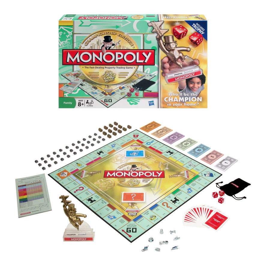 Home toys all toys monopoly championship trophy edition board game