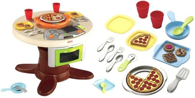 Fisher price servin 39 surprises cook 39 n serve kitchen and for Toy kitchen table