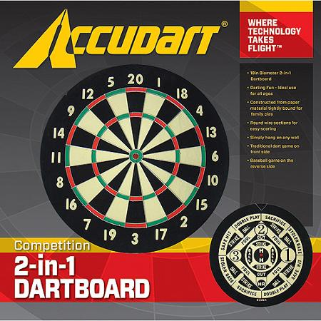 Accudart Competition 2 In 1 Dart Board Baseball Game On Backside