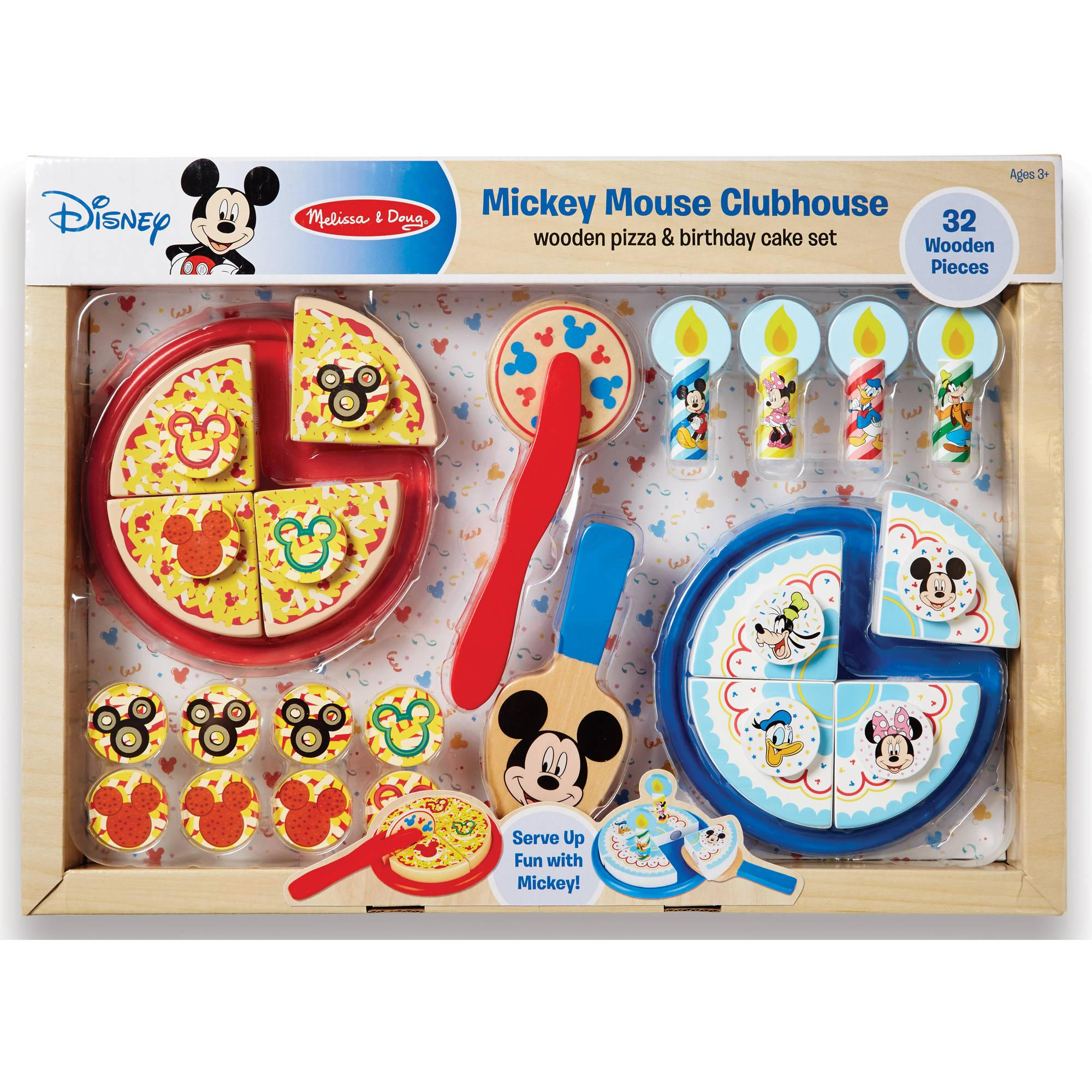 Mickey Mouse Wooden Pizza And Birthday Cake Set By Melissa Doug