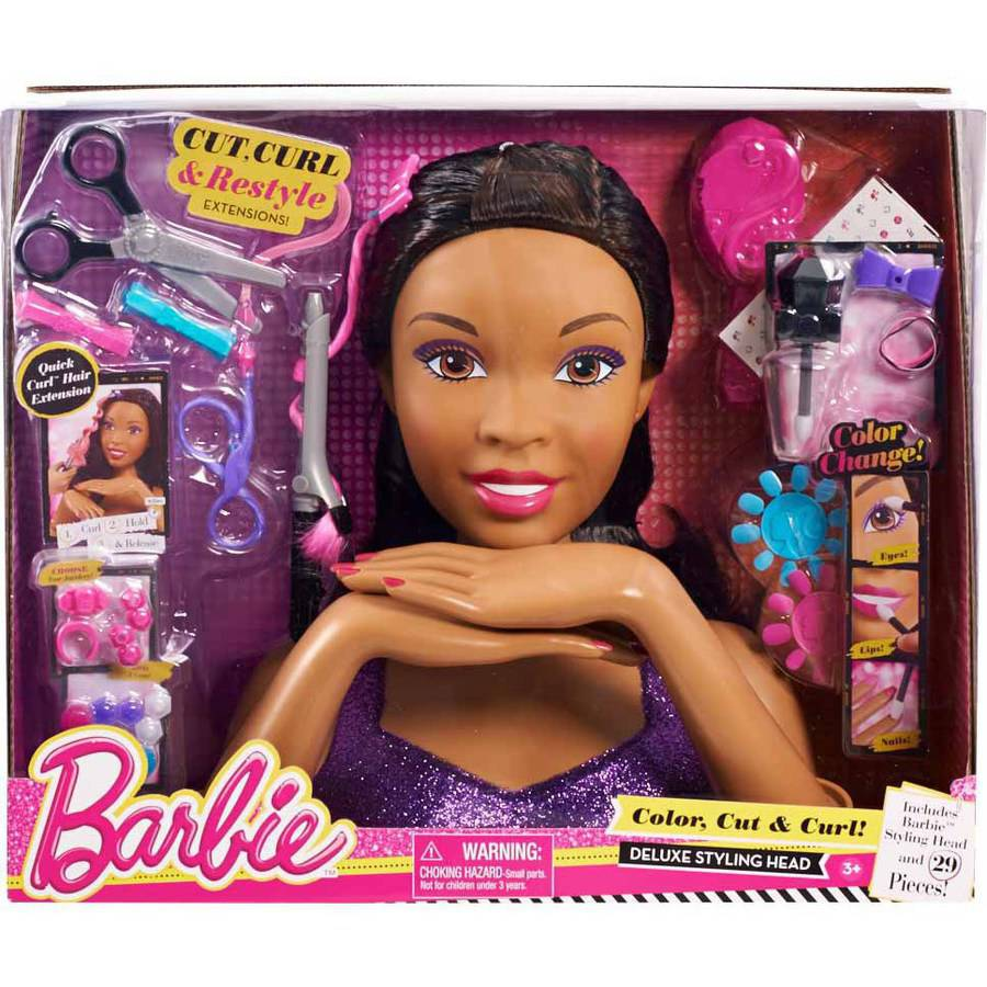 Toys For Hair : Barbie deluxe color cut and curl styling head