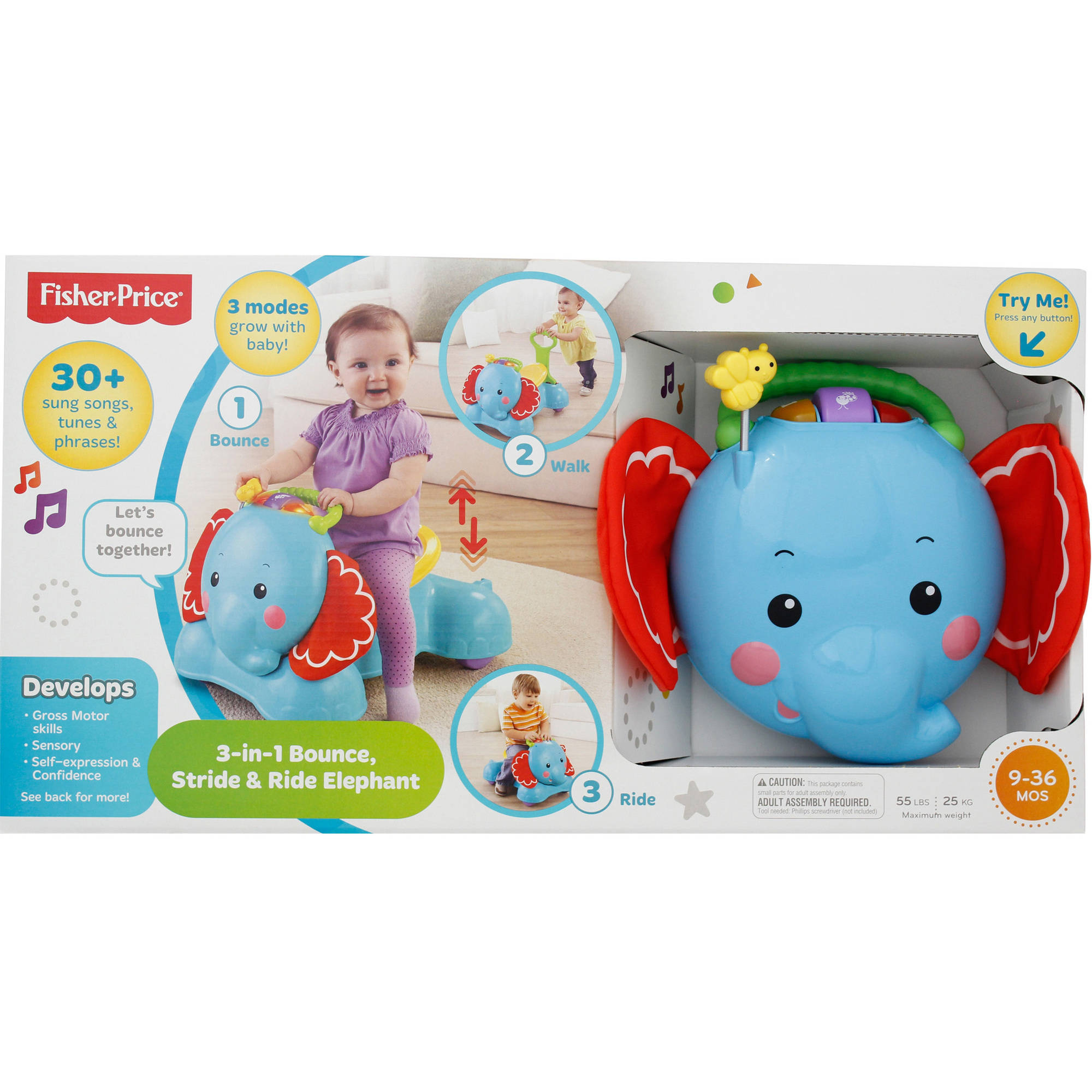 Fisher-Price 3-in-1 Bounce, Stride and Ride Elephant Walker / Ride-on