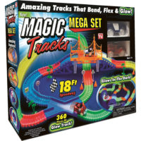 Magic Tracks Mega Set 360 Piece The Amazing Racetrack that Can Bend, Flex, And Glow! 2 Cars
