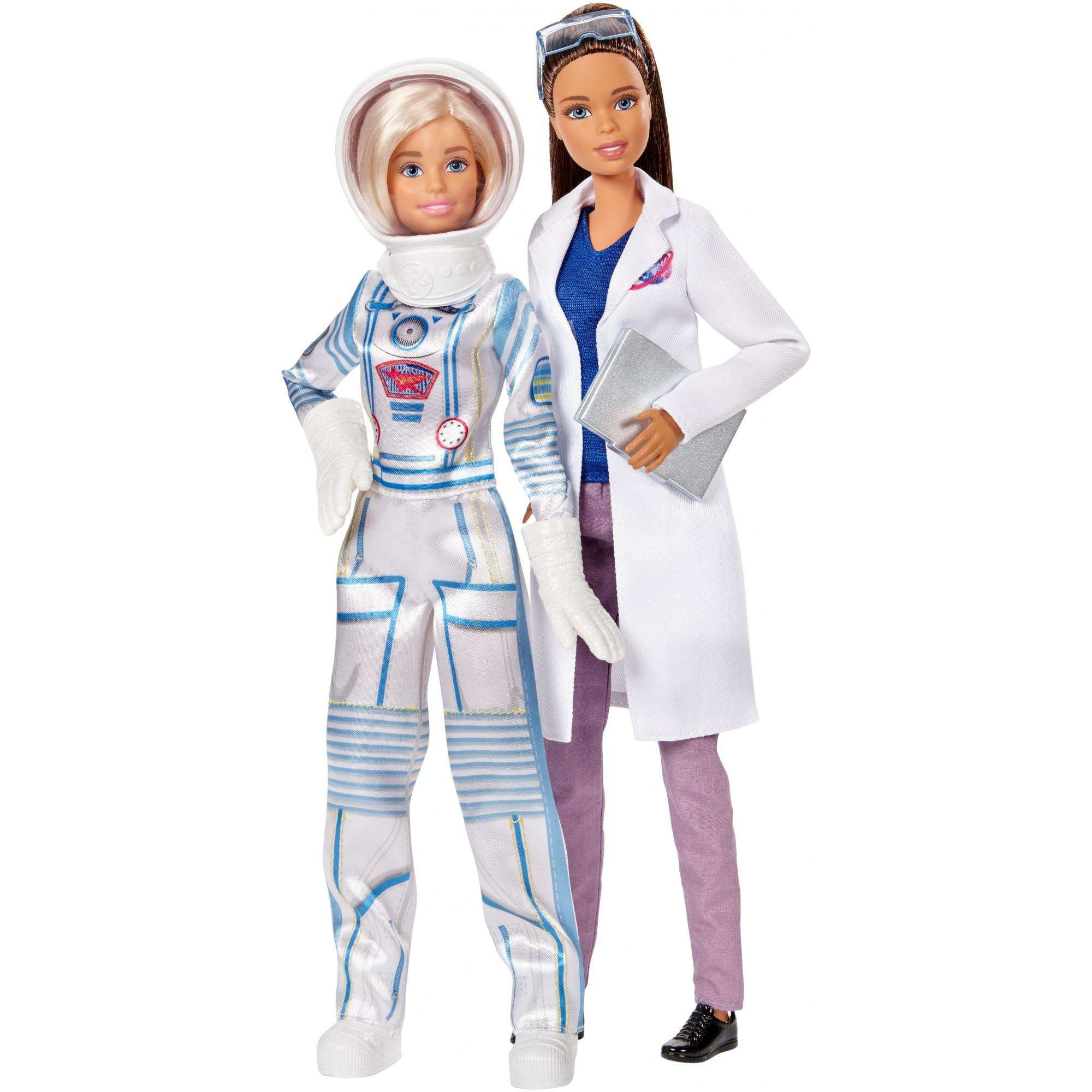 Lot of 2 Barbie Career Fashion Pack  Doctor White Coat Orange Gala Gown